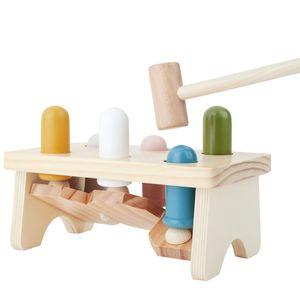 Bieco Klopfbank ab 1 Jahr | 20x12 cm | Buntes Holz Hammerspiel ab 1 Jahr | Holzspielzeug Baby mit Klopfer | Baby Holzspielzeug zum Hämmern | Motorikspielzeug ab 1 Jahr | Hämmerchenspiel aus Holz