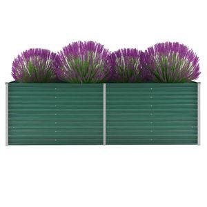 Garten-Hochbeet Verzinkter Stahl 240x80x77 cm Grün -Pflanzbeet ,Blumenkasten ,Frühbeet