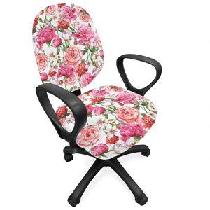 ABAKUHAUS Aquarell Bürostuhl Schonbezug, Rosa Pfingstrosen Rosen, dekorative Schutzhülle aus Stretchgewebe, Mehrfarbig