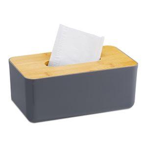relaxdays Taschentuchbox Bambusdeckel