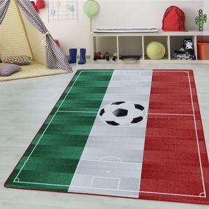 Teppium Kinderteppich, Kinderzimmerteppich, Fussball Italien, Rechteckig WEISS, Farbe:WEISS,100 cm x 150 cm