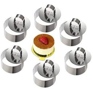 Dessertringe Tortenring Kleine Backring Edelstahl Kuchenring Mousseformen Dessertringe für Kochen und Backen 6pcs