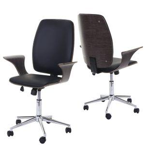 Bürostuhl HWC-C54, Chefsessel Drehstuhl, Bugholz Kunstleder  grau, Bezug schwarz