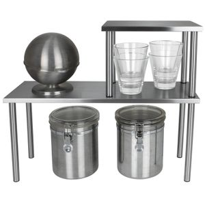 Küchenregal Metall mit 2 Ebenen Gewürzregal Küchenablage Metallregal Küchenablage Tischregal Küche