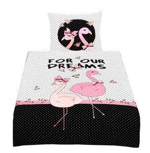 Bettwäsche 135x200 Flamingo Mikrofaser Schwarz Rosa Bezug Kinder Garnitur Set