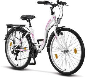 Licorne Bike Stella Premium City Bike in 24, 26 und 28 Zoll - Fahrrad für Mädchen, Jungen, Herren und Damen - Shimano 21 Gang-Schaltung - Hollandfahrrad , Farbe: Weiss, Zoll:26