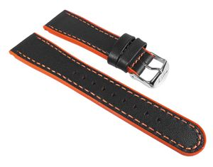Ersatzband Leder/Kautschuk schwarz/Orange 22mm Timex T2M428