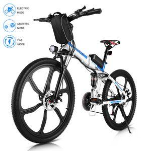 VIVI26 Zoll E-Trekkingrad Elektrofahrrad E-bike Mountainbike, Faltbares E-MTB Elektrisches Fahrrad mit 36V 8AH Lithium Akku 250W und Shimano 21-Gang Getriebe 50 Meilen,für Damen, Herren, Unisex,Weiß
