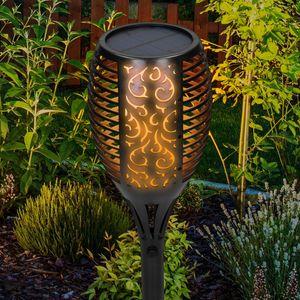 ECD Germany 96 LED Solar Gartenleuchte - 78 cm - IP65 Wasserdicht - Flammeneffekt - Gartenfackel Taschenlampe Solarlampe Solarleuchte Laterne Outdoor Dekoration Beleuchtung