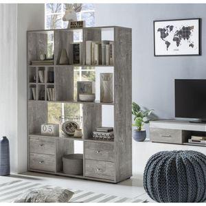 Raumteiler Regal Bücherregal Wandregal mit Schubladen Beton