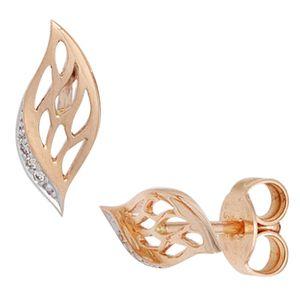 JOBO Ohrstecker 585 Gold Rotgold teilrhodiniert 6 Diamanten Brillanten Ohrringe