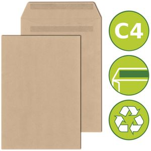 25 x Versandtaschen Briefumschläge DIN C4 selbstklebend 229x324mm Braun