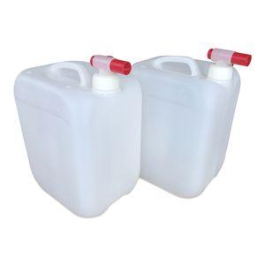 2 x 10 L 10 Liter Wasserkanister Kanister lebensmittelecht dicht + 2 x Hahn DIN45 (2x10knn45 + 2xH.45)