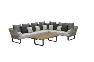 Garden Impressions Lounge Set Jive 4-teilig rechts carbon black Rope