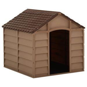 Perfekt® Hundehütte,Outdoor Hundehaus für große Hunde,Platz für ein Hundebett, Braun 71x71,5x68 cm PP🍹2654