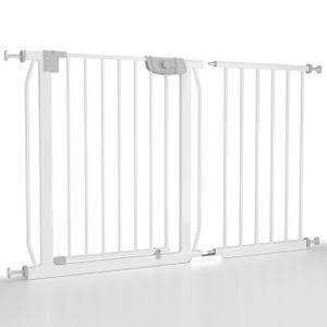 Froggy Türschutzgitter 120-128cm ink Verlängerung Absperrgitter Klemminstallation ohne Bohren Treppenschutz doppeltgesichertes Türschließsystem Metall