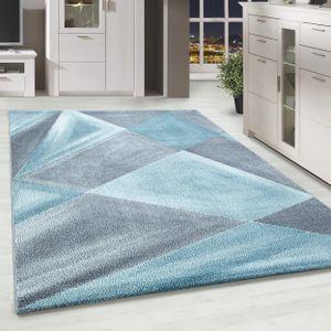 Kurzflor Designer Teppich Abstrakt Gemustert Wohnteppich Grau Blau Weiss Meliert, Farbe:Blau, Grösse:200x290 cm