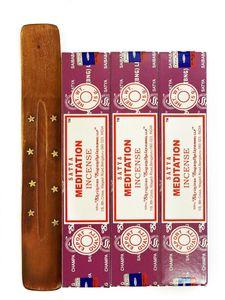 Satya Meditation Räucherstäbchen Set (3 St) mit Halter aus Holz