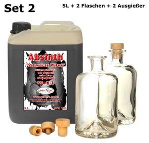 Schwarzer Absinth 5L Mit max. erlaubtem Thujon 35mg inkl. 2 Flaschen 2 Ausgießer 55%Vol