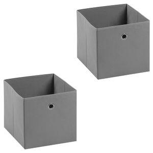 Stoffbox BELLA im 2er Pack, faltbar in grau