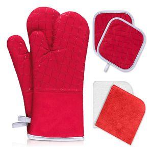 2er Set Ofenhandschuhe aus Baumwolle mit 2 Stk Topflappen Rot