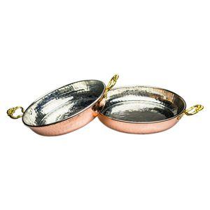 Kupferpfanne 2er Set Bratpfanne Servierpfanne Handarbeit Bakir Sahan Omlet Tava 18 cm + 20 cm