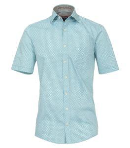 Casa Moda - Casual Fit - Herren Freizeit 1/2-Arm-Hemd in Türkis mit Muster (982907000A), Größe:XL, Farbe:Türkis (350)