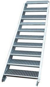 Stahltreppe verzinkt 10 Stufen Geschosshöhe 150-200cm / Stufenmaße 60 cm x 24 cm