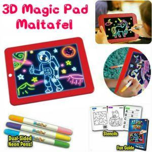 Magic Pad – Zaubertafel mit 4 Neonfarben und 8 Lichteffekten – Kreative Beschäftigung für Kinder, auch unterwegs – Maltafel mit 10 Schablonen, abwischbar