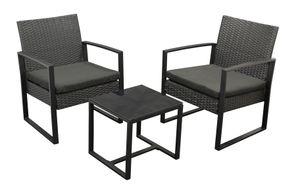 DEGAMO Gartenset Garten Garnitur Sitzgruppe Loungeset MALTA 3-teilig, Metall schwarz und Polyrattan schwarz, mit Polstern