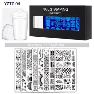 10 Stš¹ck / Set Nagelstempelplatten mit klarem Silikonstempel Schaber Blumen Geometriedruck fš¹r Nail Art Stempelplatten Manikš¹re Art Tool Kit