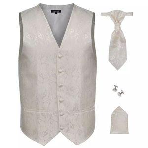 vidaXL Herren Paisley-Hochzeitswesten-Set Größe 50 Creme