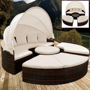 Casaria Poly Rattan XXL Sonneninsel 230cm klappbares Sonnendach 7cm Auflagen 4 Kissen Sonnenliege Gartenliege Sitzgruppe Lounge , Farbe:braun