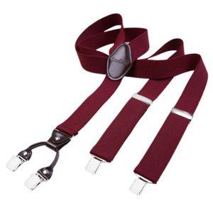 DonDon Herren Hosenträger 3,5 cm breit 4 Clips mit braunem Leder in Y-Form elastisch und längenverstellbar - dunkelrot