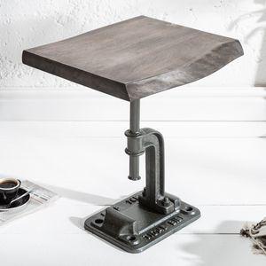 Industrial Beistelltisch FACTORY 43cm Akazie grau Massivholz Wohnzimmertisch Couchtisch Sofatisch Kaffeetisch