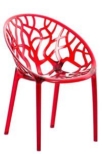CLP Stapelstuhl Crystal wetterbeständiger Stapelstuhl mit einer Sitzhöhe von 45 cm, Farbe:rot