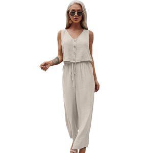 Damen Outfits 2-teiliges Set V-Ausschnitt aermellose Hose mit kurzer Weste und weitem Bein und Tunnelzug Oberteil Hosen Casual Beach[Khaki-S]