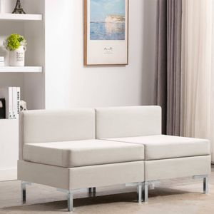 2er Set Modular-Mittelsofas mit Auflagen Stoff Creme, Wohnlandschaft-Sofa, Couch, Relaxsofa Moderne
