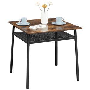 VASAGLE Esstisch, Quadratischer Küchentisch, Schreibtisch, mit Ablage, für Wohnzimmer, Büro, Industrie-Design, vintagebraun-schwarz KDT008B01