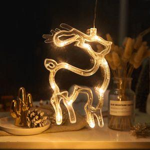 2 Stücke LED Rentier Lichterkette Fensterlicht mit Saugnapf Für Party Weihnachten Hängende Fenster Deko