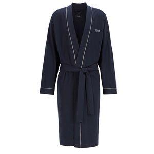 HUGO BOSS Herren Bademantel - Kimono, Logo, Baumwolle Blau XL