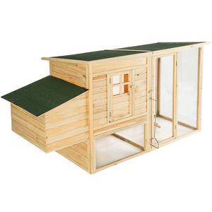 tectake Kleintierstall aus Holz 198x75x102cm - braun