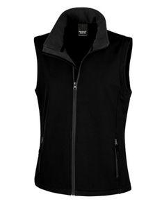 Damen Printable Soft Shell Bodywarmer - Farbe: Black/Black - Größe: L