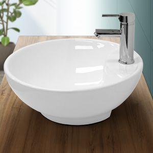 ECD Germany Waschbecken Waschtisch Ø 455 x 155 mm aus Keramik Rund Weiß mit Überlauf - Aufsatzbecken Aufsatzwaschbecken Handwaschbecken Aufsatzwaschtisch Spülbecken Becken Wasserfall Waschschale Waschschlüssel