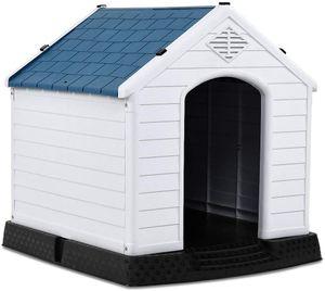 COSTWAY Hundehütte Kunststoff Hundehaus Plastik für Garten, Drinnen und Draußen, Hundehöhle mit Erhöhtem Boden, Hundekisten blau und weiß 70x65x71,5cm