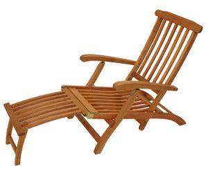 DEGAMO Deckchair Liegestuhl Steamer Gartenliege MAINE mit Fussteil, klappbar, Eukalyptus Holz geölt,