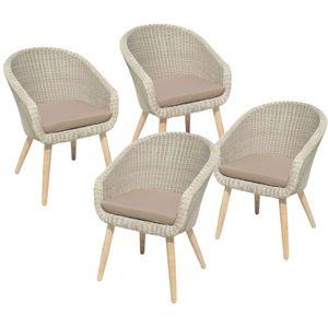 4x Garten Stuhl + Auflage Terrasse Stühle Essstuhl Akazie Holz Rattan Optik grau