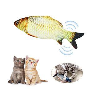 Elektrische USB-Ladesimulation Fisch Katzenspielzeug Lustige interaktive Haustiere Katzen Katzenminze Spielzeug fuer Katze Kaetzchen Kaetzchen-Perfekt zum Beissen Kauen Treten (Mit Katzenminze und Karausche) 【Gelb Grass carp】