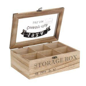 """ToCi Teebox Holz Natur mit 6 Fächern   Rechteckige  Teekiste Teedose Teebeutel Box Aufbewahrung   24 x 16 x 8,5 cm (LxBxH)   """"Storage Box"""" im Retro Look"""