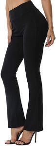 FITTOO Damen Bootcut Yogahosen Straight-Bein-Jogginghose Ausgestelltem Bein Yoga Hose, Farbe: Schwarz, Gr??e: S